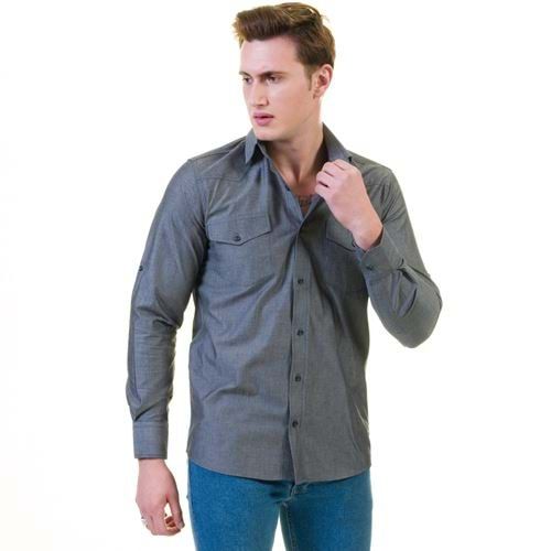 Gray Jeans Style Western Men's Shirt