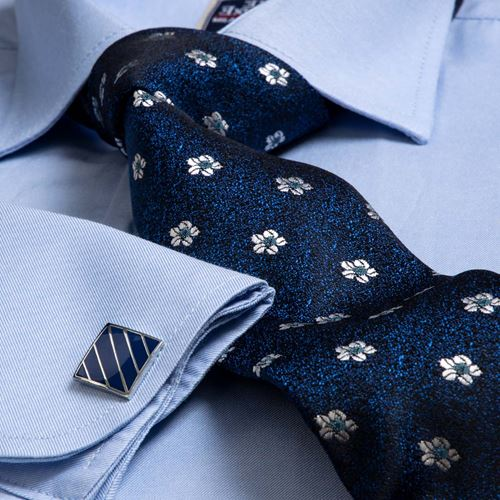 Blue French Cuff Shirt with Tie & Cufflinks
