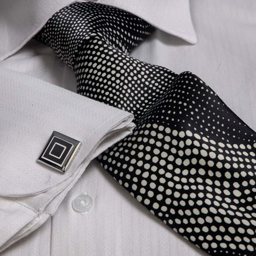 Pink Striped French Cuff Shirt with Tie & Cufflinks