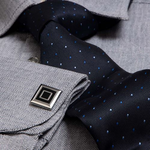 Gray French Cuff Shirt with Tie & Cufflinks